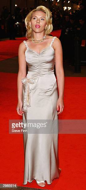 Actress Scarlett Johansson arrives at 'The Orange British Academy Film Awards' at The Odeon Leicester Square on February 15 2004 in London