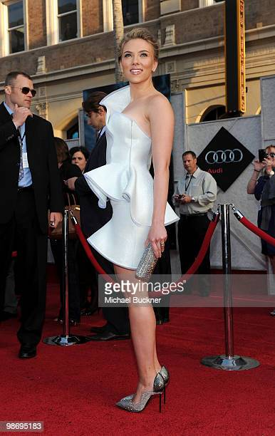 """Actress Scarlett Johansson arrives at the world wide premiere of """"Iron Man 2"""" Premiere held at the El Capitan Theatre on April 26, 2010 in Hollywood,..."""