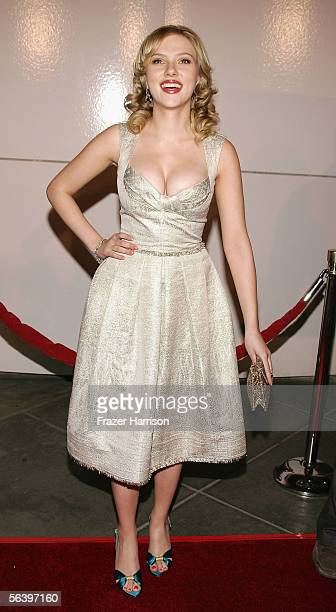 Actress Scarlett Johansson arrives for the Los Angeles Premiere Of 'Match Point' held at the Los Angles County Museum of Art on December 8 2005 in...