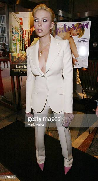 Actress Scarlett Johansson arrives for the premiere of 'Lost in Translation' at the Chelsea West Theater September 9 2003 in New York City