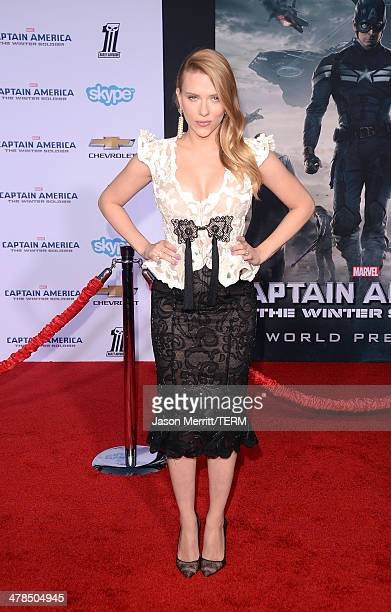 Actress Scarlett Johansson arrives for the premiere of Marvel's 'Captain America The Winter Soldier' at the El Capitan Theatre on March 13 2014 in...