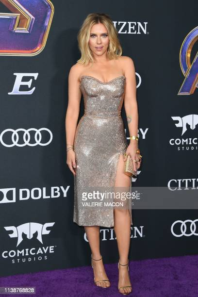 US actress Scarlett Johansson arrives for the World premiere of Marvel Studios' Avengers Endgame at the Los Angeles Convention Center on April 22...