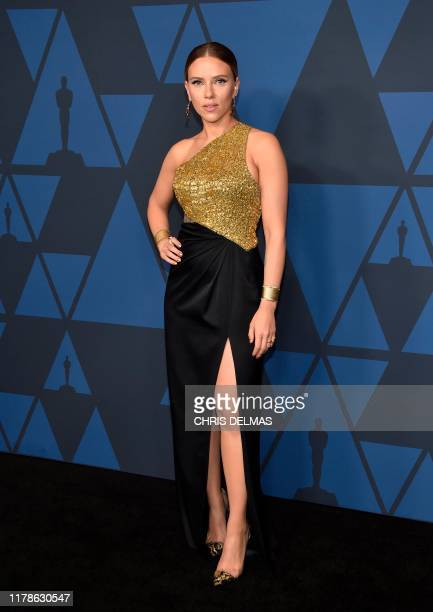 US actress Scarlett Johansson arrives to attend the 11th Annual Governors Awards gala hosted by the Academy of Motion Picture Arts and Sciences at...