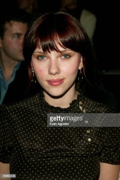 Actress Scarlett Johansson at the BCBG Spring 2003 fashion show during MercedesBenz Fashion Week in New York City September 19 2002 Photo by Evan...