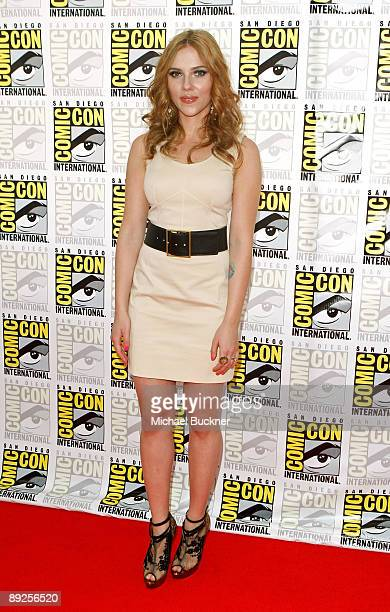 """Actress Scarlett Johansson attends """"Iron Man 2"""" panel discussion during Comic-Con 2009 held at San Diego Convention Center on July 25, 2009 in San..."""