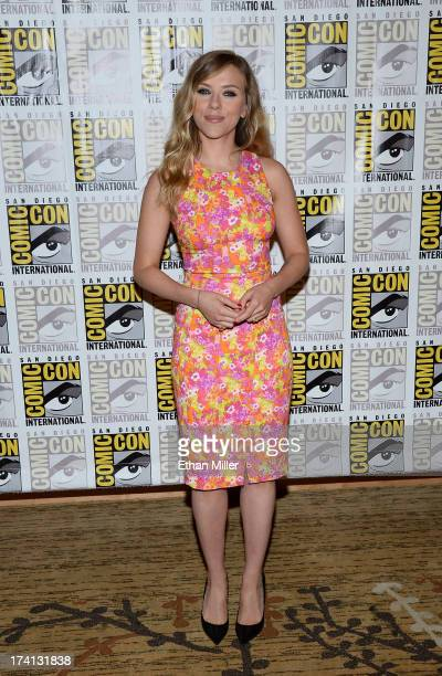 """Actress Scarlett Johansson attends Marvel's """"Captain America: The Winter Soldier"""" during Comic-Con International 2013 at the Hilton San Diego..."""