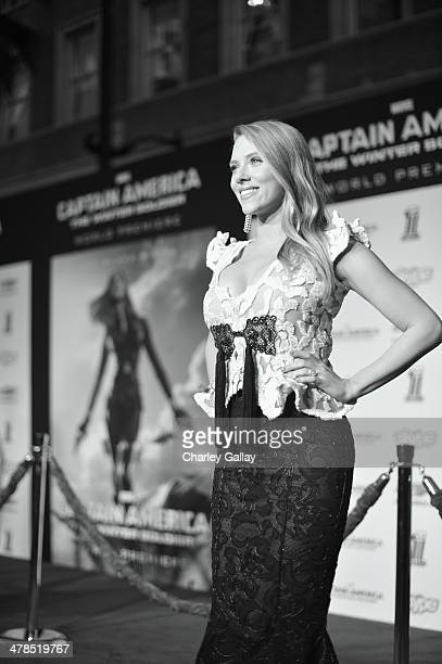 """Actress Scarlett Johansson attends Marvel's """"Captain America: The Winter Soldier"""" premiere at the El Capitan Theatre on March 13, 2014 in Hollywood,..."""