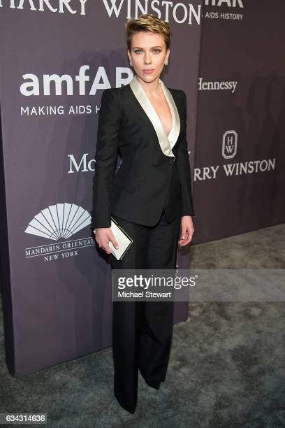 Actress Scarlett Johansson attends the 19th Annual amfAR New York Gala at Cipriani Wall Street on February 8 2017 in New York City