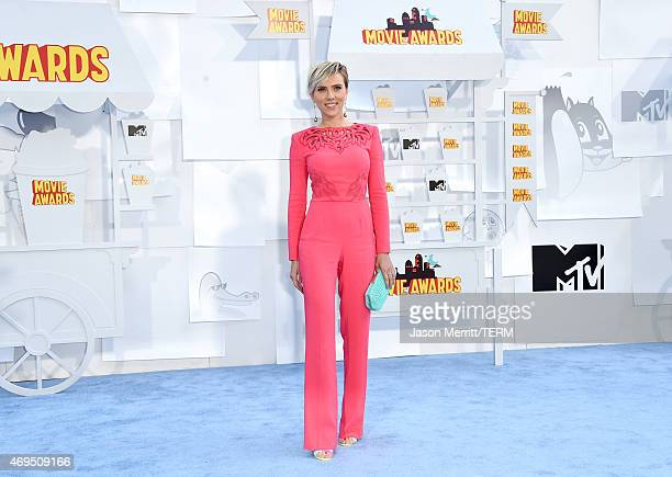 Actress Scarlett Johansson attends The 2015 MTV Movie Awards at Nokia Theatre LA Live on April 12 2015 in Los Angeles California