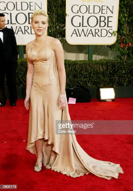 Actress Scarlett Johansson attends the 61st Annual Golden Globe Awards at the Beverly Hilton Hotel on January 25 2004 in Beverly Hills California