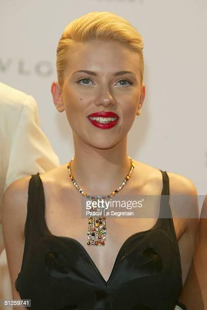 "Actress Scarlett Johansson attends the ""amFAR Venice Benefit Evening"" at the Fondazione Giorgio Cini during the 61st Venice Film Festival on..."