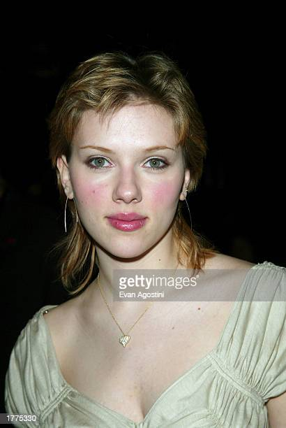 Actress Scarlett Johansson attends the BCBG Max Azria Fall/Winter 2003 Collection fashion show at the Theater in Bryant Park during MercedesBenz...