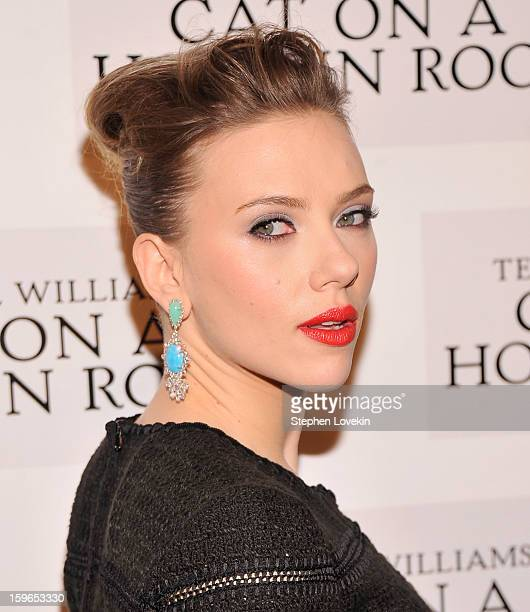 Actress Scarlett Johansson attends the 'Cat On A Hot Tin Roof' Broadway opening night after party at The Lighthouse at Chelsea Piers on January 17...