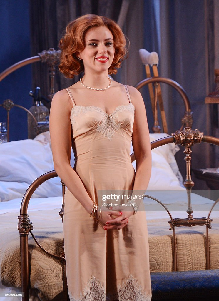 Actress Scarlett Johansson attends the curtain call for the 'Cat On A Hot Tin Roof' opening night at Richard Rodgers Theatre on January 17, 2013 in New York City.