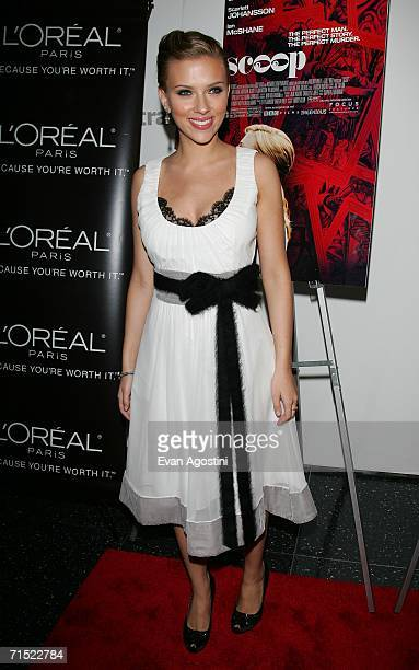"""Actress Scarlett Johansson attends the Focus Features and Loreal premiere of """"Scoop"""" at the Museum of Modern Art July 26, 2006 in New York City."""
