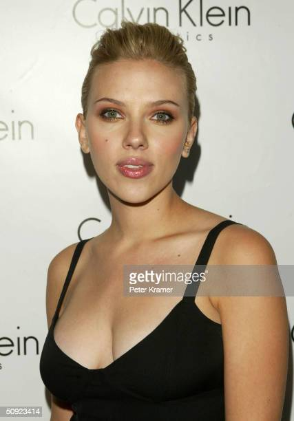 Actress Scarlett Johansson attends the launch Party for Calvin Klein's new fragrance Eternity Moment June 3 2004 in New York City