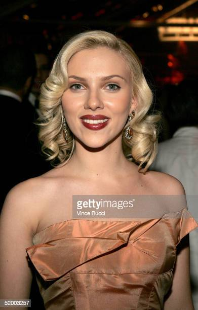 Actress Scarlett Johansson attends the Miramax 2005 Golden Globes After Party at Trader Vics on January 16 2005 in Beverly Hills California