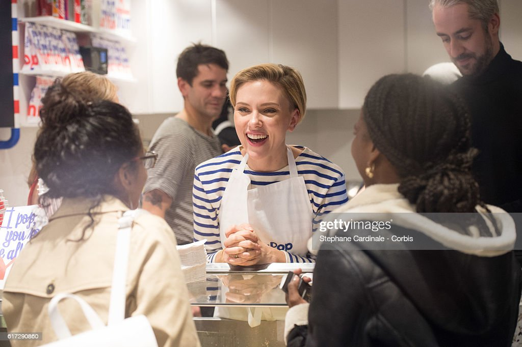 Actress Scarlett Johansson attends the opening of her New Store Yummy Pop on October 22, 2016 in Paris, France.