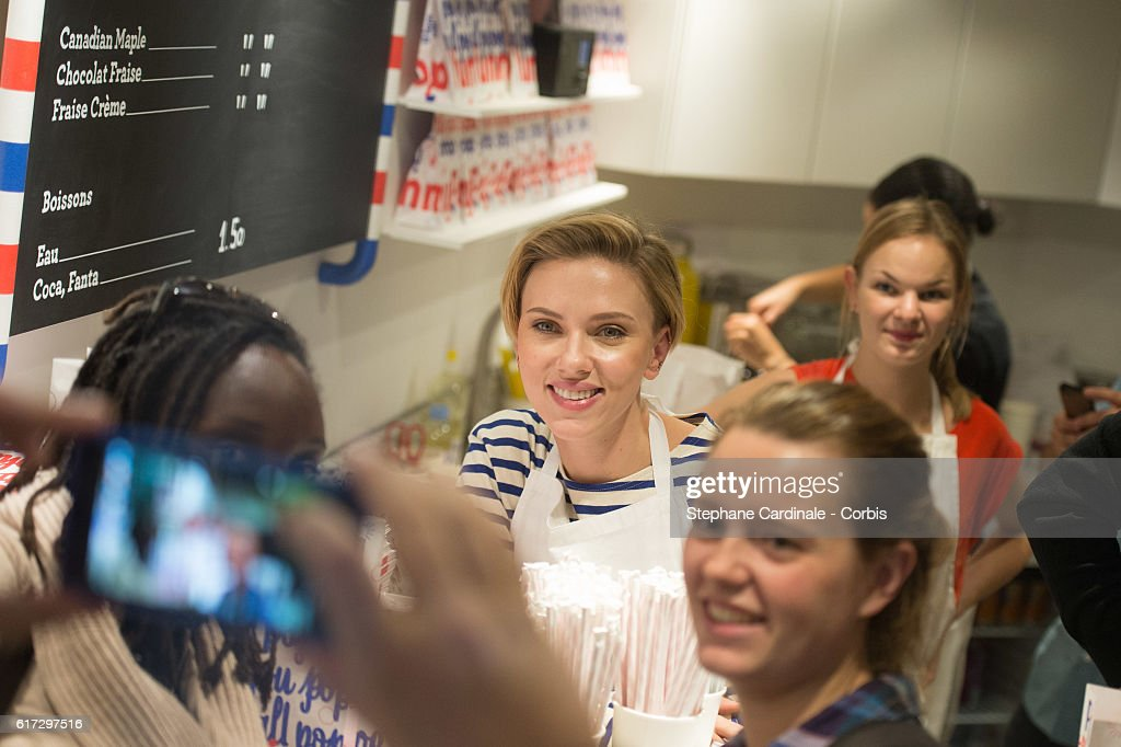 Actress Scarlett Johansson attends the Opening of her New Store Yummy Pop, on October 22, 2016 in Paris, France.