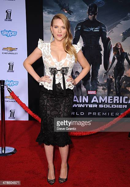 Actress Scarlett Johansson attends the premiere of Captain America The Winter Soldier at the El Capitan Theatre on March 13 2014 in Hollywood...