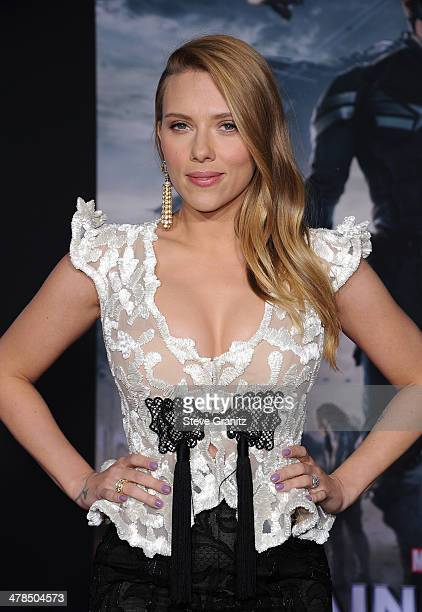 Actress Scarlett Johansson attends the premiere of 'Captain America The Winter Soldier' at the El Capitan Theatre on March 13 2014 in Hollywood...
