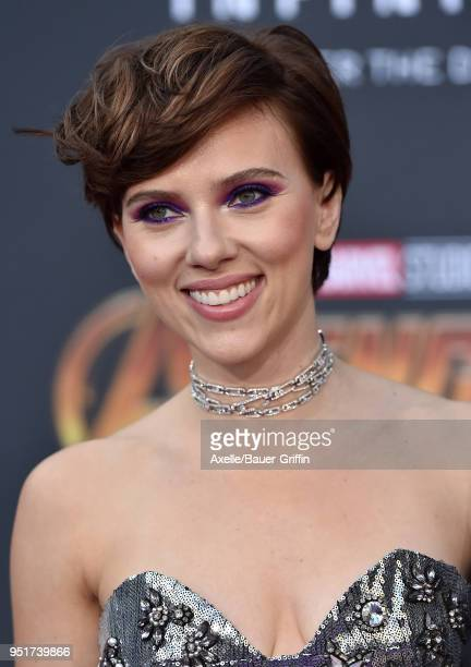Actress Scarlett Johansson attends the premiere of Disney and Marvel's 'Avengers Infinity War' on April 23 2018 in Hollywood California