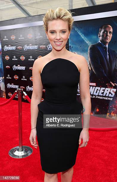 "Actress Scarlett Johansson attends the premiere of Marvel Studios' ""Marvel's The Avengers"" held at the El Capitan Theatre on April 11, 2012 in..."