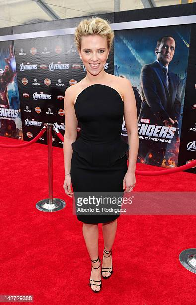 """Actress Scarlett Johansson attends the premiere of Marvel Studios' """"Marvel's The Avengers"""" held at the El Capitan Theatre on April 11, 2012 in..."""