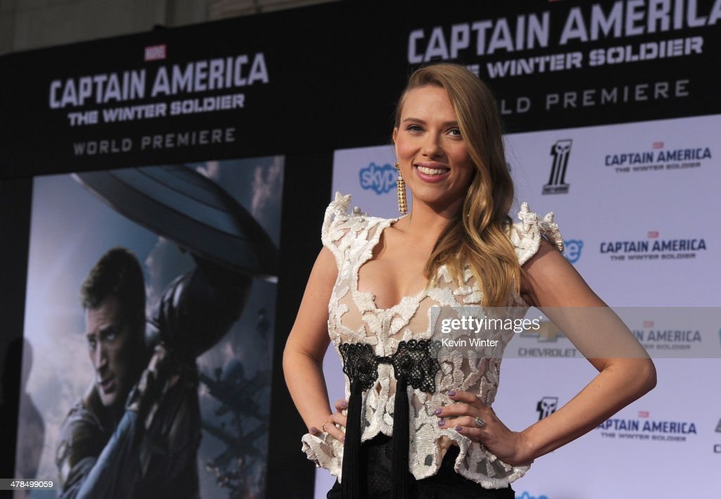 Actress Scarlett Johansson attends the premiere of Marvel's 'Captain America: The Winter Soldier' at the El Capitan Theatre on March 13, 2014 in Hollywood, California.