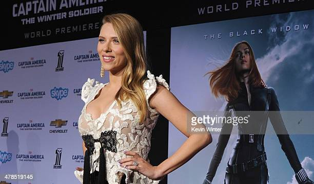 Actress Scarlett Johansson attends the premiere of Marvel's Captain America The Winter Soldier at the El Capitan Theatre on March 13 2014 in...
