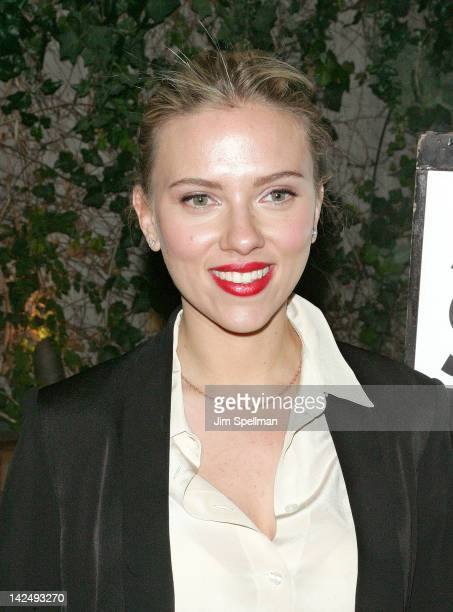 Actress Scarlett Johansson attends the Scott M Stringer 2013 Mayoral Campaign fundraiser at the Cabanas at the Maritime on April 5 2012 in New York...
