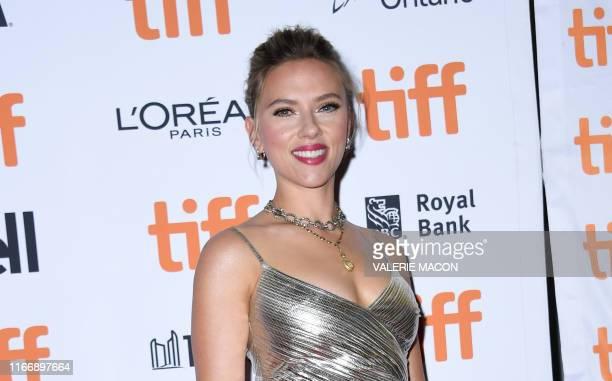 "Actress Scarlett Johansson attends the special screening of ""Jojo Rabbit"" during the 2019 Toronto International Film Festival Day 4 at the Princess..."