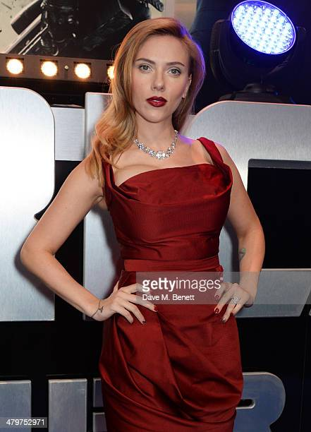 """Actress Scarlett Johansson attends the UK Film Premiere of """"Captain America: The Winter Soldier"""" at Westfield London on March 20, 2014 in London,..."""
