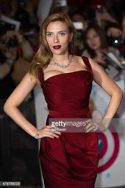 Actress Scarlett Johansson attends the UK Film Premiere of Captain America The Winter Soldier at Westfield London on March 20 2014 in London England