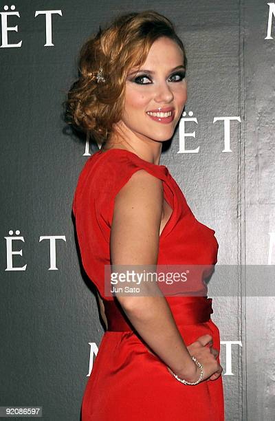 Actress Scarlett Johansson attends 'Tribute to Cinema' hosted by Moet Chandon at Mado Lounge Roppongi Hills on October 20 2009 in Tokyo Japan