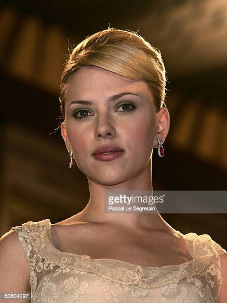 Actress Scarlett Johansson departs the premiere of the film Match Point at the Palais during the 58th International Cannes Film Festival May 12 2005...