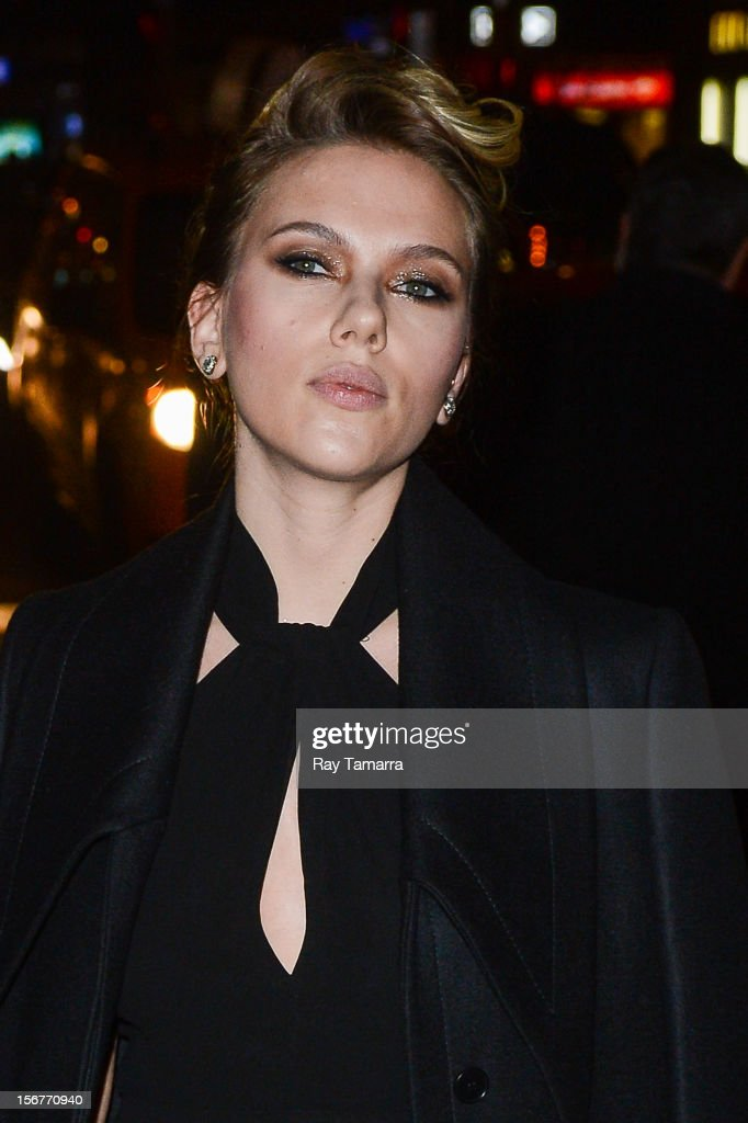 Actress Scarlett Johansson enters the 'Late Show With David Letterman' taping at the Ed Sullivan Theater on November 20, 2012 in New York City.