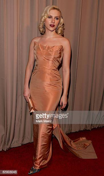 Actress Scarlett Johansson in Roland Mouret arrives at the Miramax 2005 Golden Globes After Party at Trader Vics on January 16 2005 in Beverly Hills...