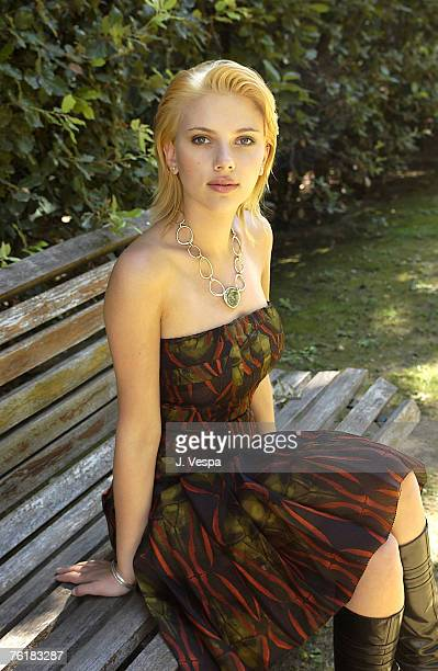 Actress Scarlett Johansson is photographed at the Venice Film Festival on September 2 2003 at Hotel Des Bains in Venice Italy