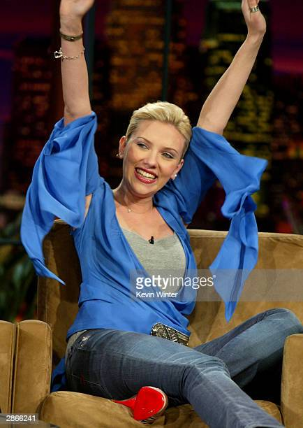 Actress Scarlett Johansson on The Tonight Show with Jay Leno on January 13 2004 at the NBC Studios in Burbank California Photo by Kevin Winter/Getty...