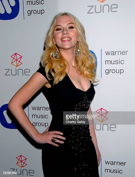 Actress Scarlett Johansson poses at Warner Music Group's 2007 Grammy Party held at The Cathedral February 11 2007 in Los Angeles California