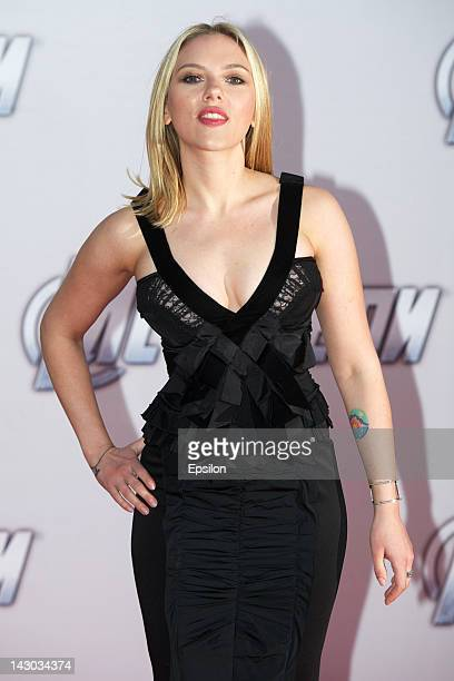 Actress Scarlett Johansson poses for photo before 'Marvel's The Avengers' premiere in Oktyabr cinema on April 17 2012 in Moscow Russia