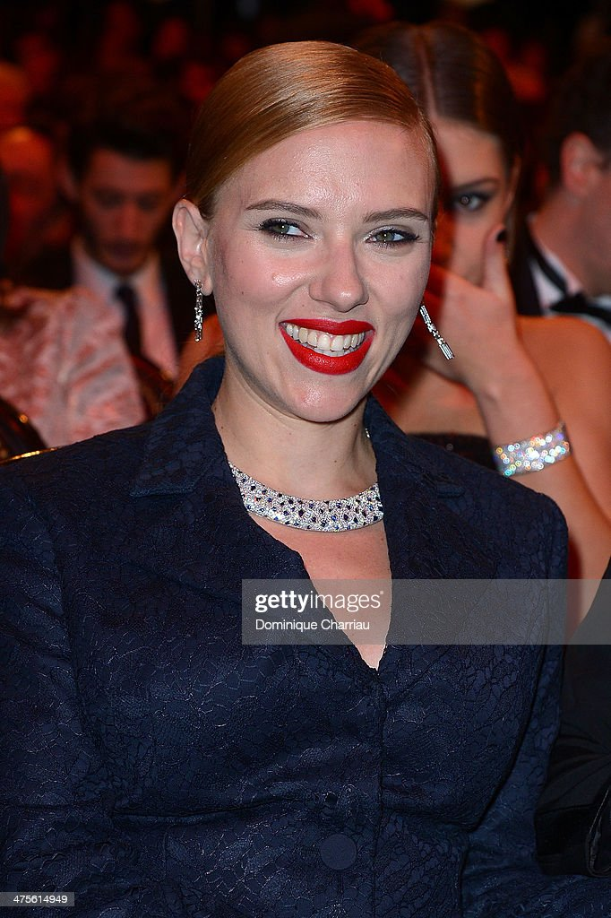 Actress Scarlett Johansson sits in the audience before the start of the 39th Cesar Film Awards 2014 at Theatre du Chatelet on February 28, 2014 in Paris, France.
