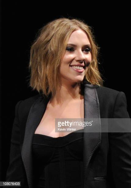 """Actress Scarlett Johansson walks onstage at the Marvel Studios' """"Captain America: The First Avenger"""" panel during Comic-Con 2010 at San Diego..."""