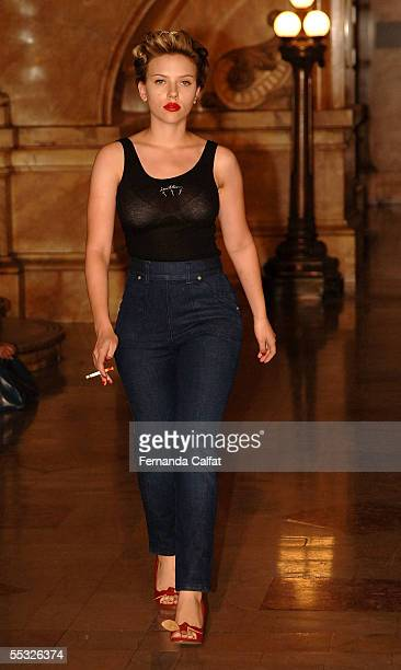 Actress Scarlett Johansson walks the runway at the Imitation of Christ Spring 2006 fashion show during Olympus Fashion Week at Surrogate's Court...