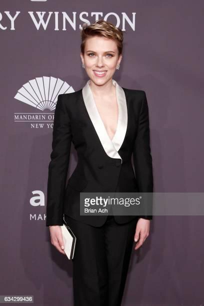 Actress Scarlett Johansson wearing Harry Winston attends the amfAR New York Gala where Harry Winston is a Presenting Sponsor at Cipriani Wall Street...