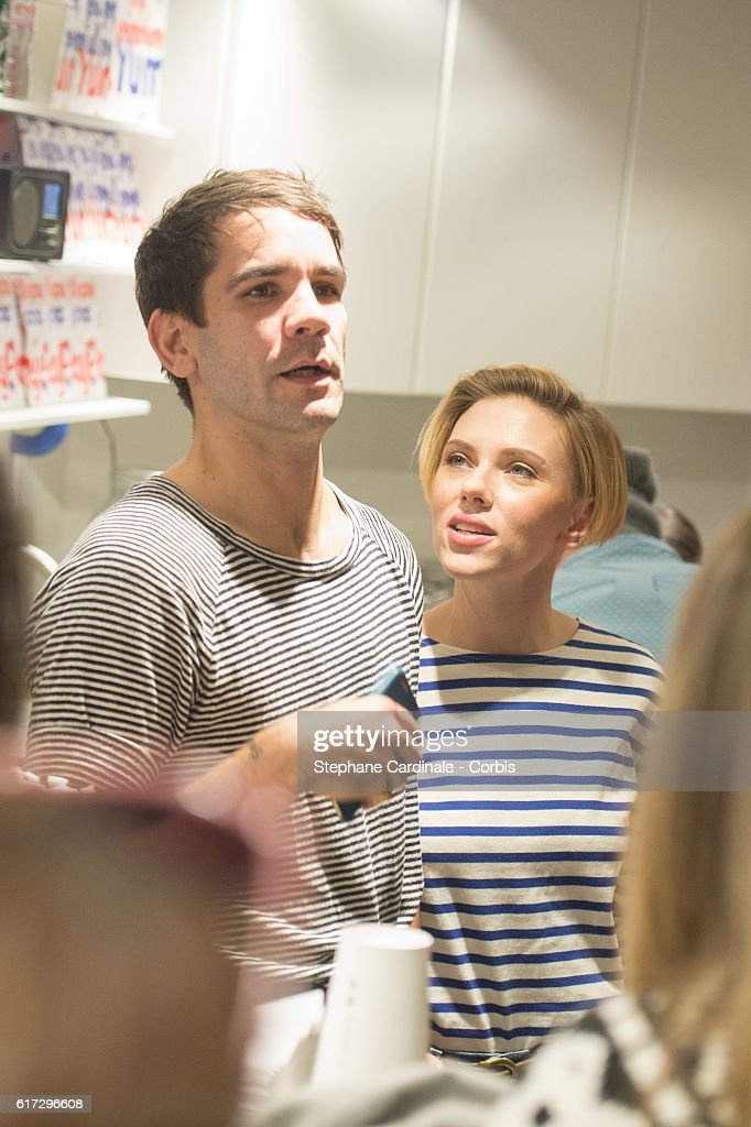 Actress Scarlett Johansson with her husband Romain Dauriac attend the Opening of their New Store 'Yummy Pop', on October 22, 2016 in Paris, France.