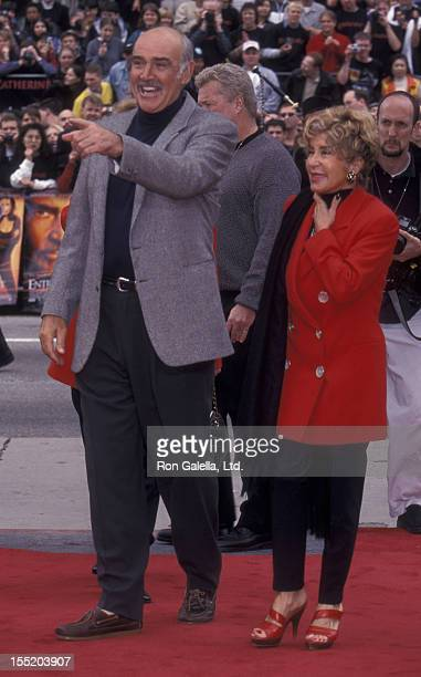 Actress Sean Connery and wife Micheline Connery attend Sean Connery Hand and Footprint Ceremony on April 13 1999 at Mann Chinese Theater in Hollywood...
