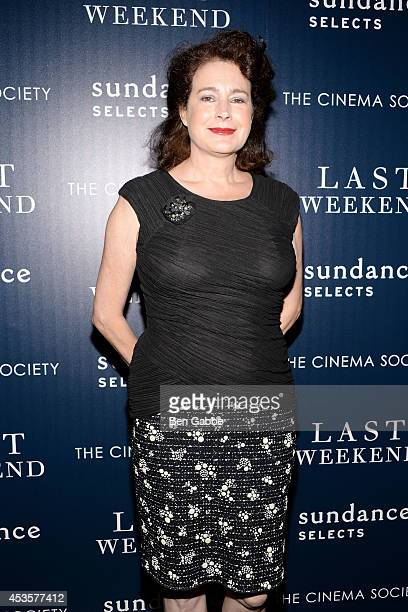 Actress Sean Young attends the Sundance Selects The Cinema Society special screening of 'Last Weekend' at Tribeca Grand Hotel on August 13 2014 in...