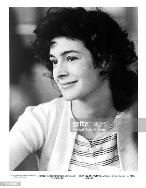 Actress Sean Young on set of the movie The Boost circa 1988